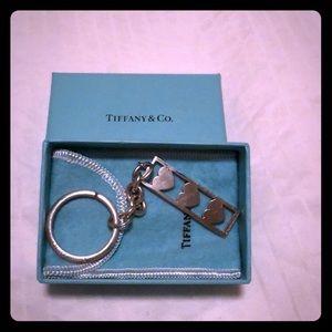 Tiffany & Co. 3 Heart Pendant Keychain Silver 925